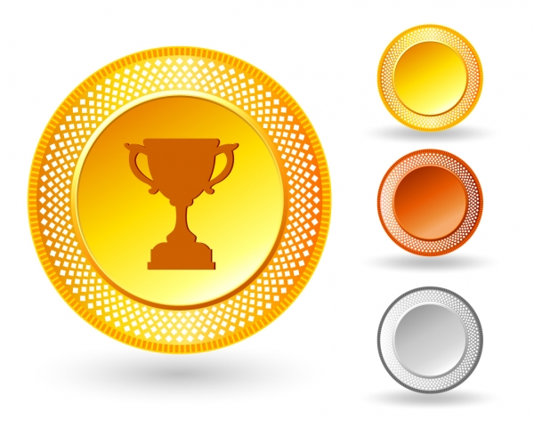 金銀銅のトロフィー アイコン Trophy icon on button with metallic border