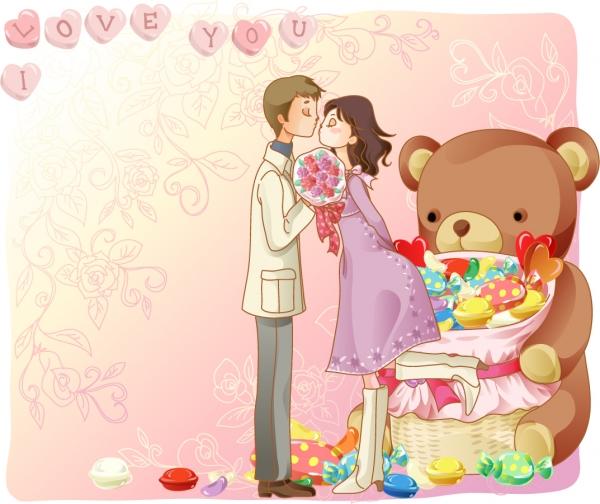 恋するカップルのイラスト cartoon lovers figure5