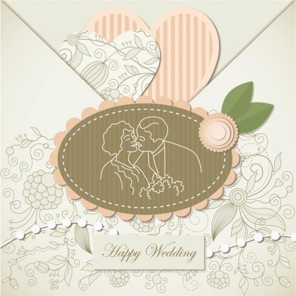 美しく飾り付けた結婚招待状テンプレート wedding label background