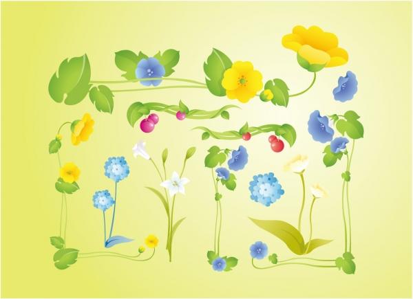 優雅な庭の植物画 Garden Flowers