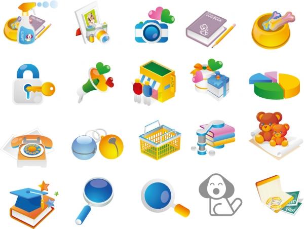 漫画風に描いた玩具のアイコン Cartoon Style Icon Set