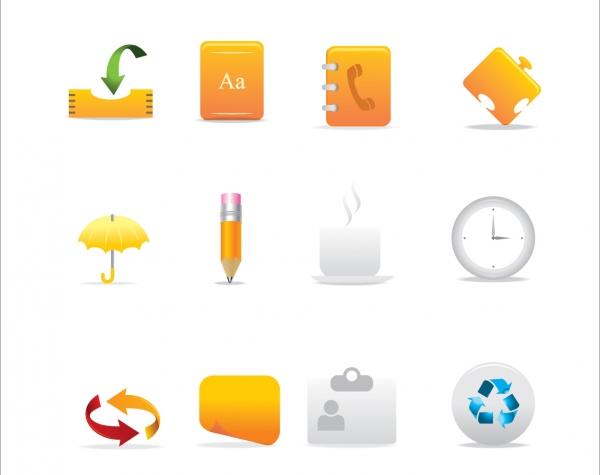 オフィス事務のシンプルなアイコン Office Icons Set