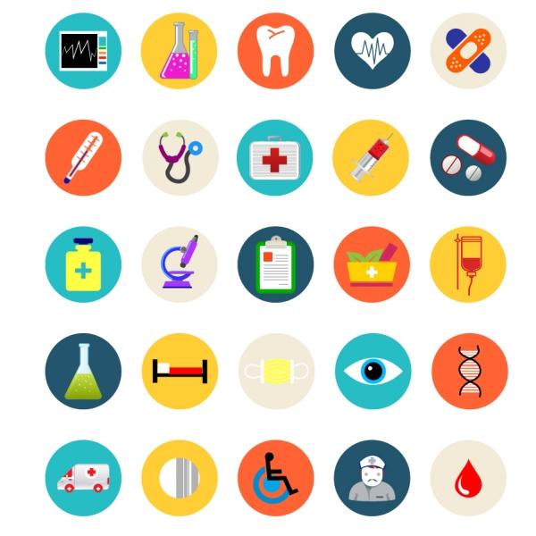 医療関連のフラットデザイン アイコン集 Medical and healthcare flat icons set