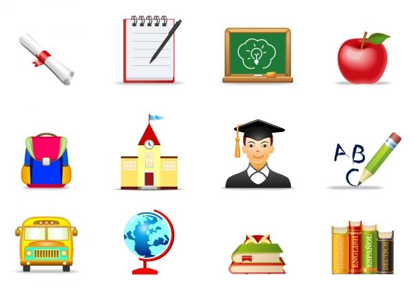 教育関連のアイコン Education symbol icons