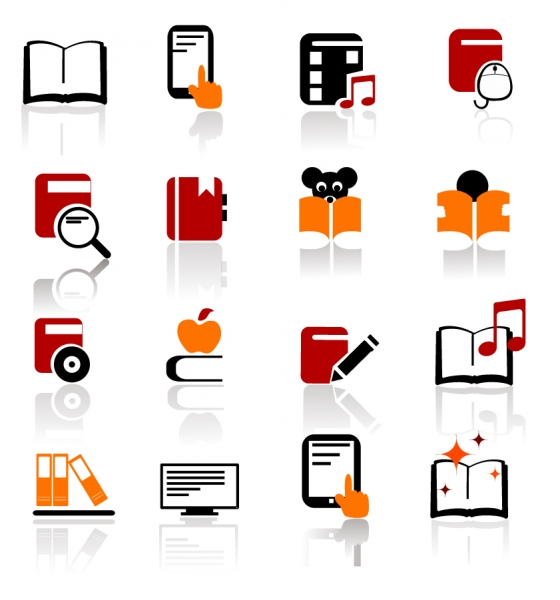 電子書籍を表現したアイコン Digital books and literature icons