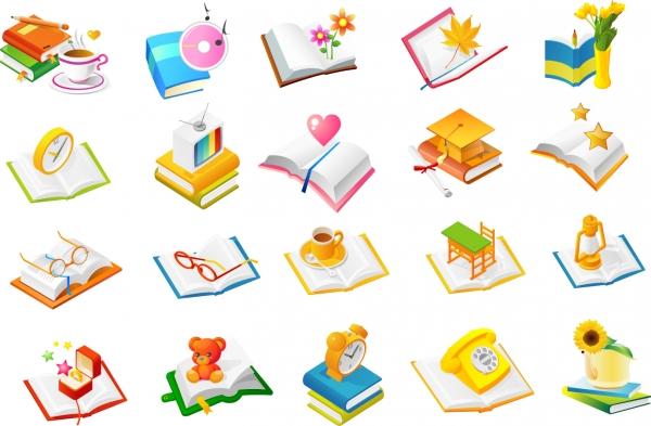 様々なジャンルの本アイコン Book icon of various genres