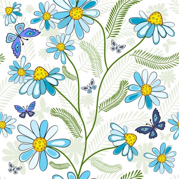 シームレスなコスモスの背景 Seamless Flower Vector Background