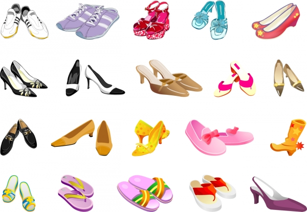 お洒落な靴のクリップアート colors of different styles of shoes vector