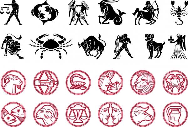十二星座サインのシルエット Vector Astrology Signs