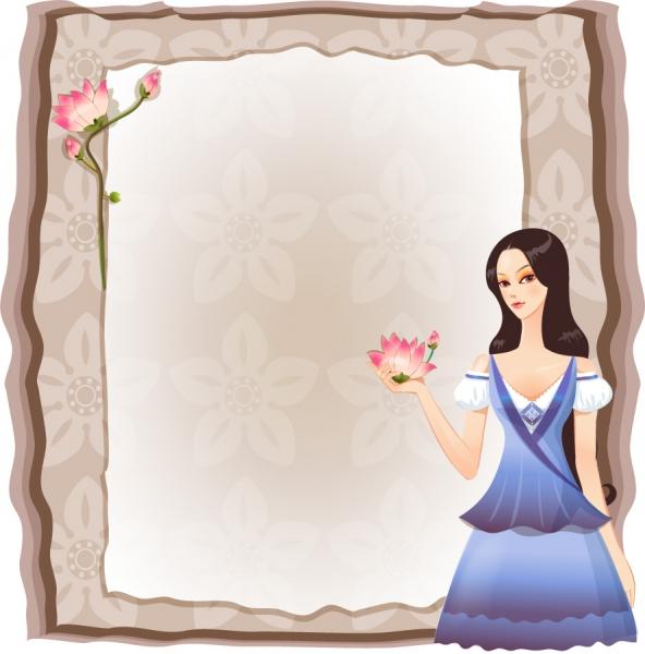 美女が提示する優雅なフレーム women side flowers frame6