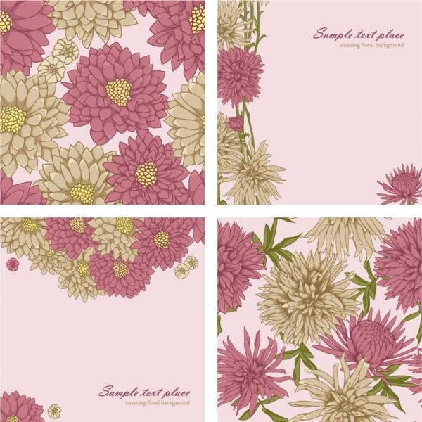 四面ブロック分けの美しい花ビラ背景 Beautiful flowers vector background