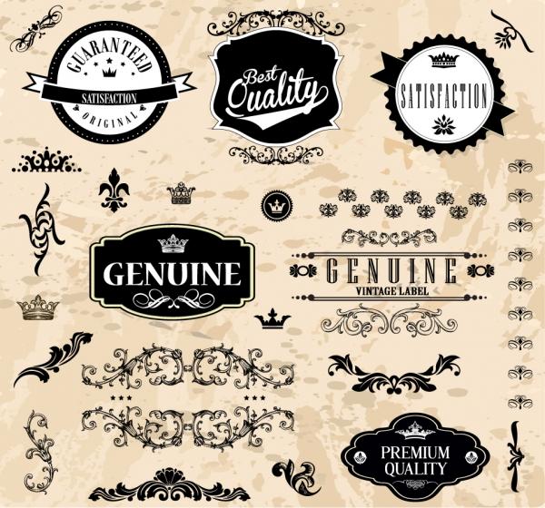 レトロなデザインの飾り罫 design element retro label frame