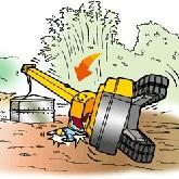 転倒した移動式クレーン車の図