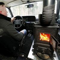 車内で薪ストーブを使う
