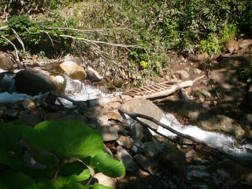 この橋は濡れていると泥で滑るので注意!