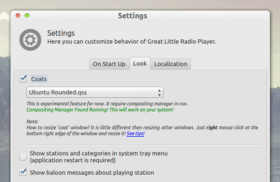 Great Little Radio Player Ubuntu インターネットラジオ スキンの変更
