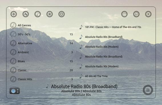 Great Little Radio Player Ubuntu インターネットラジオ 透明のスキン