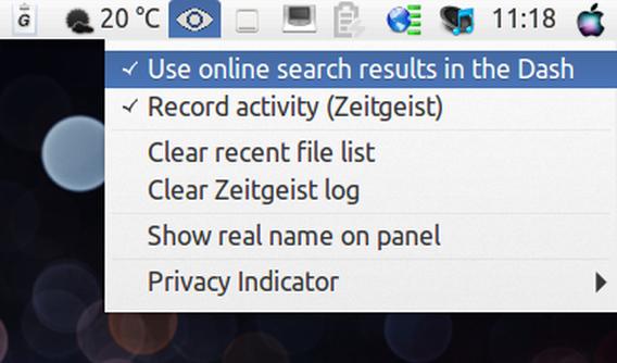 Privacy Indicator Ubuntu プライバシー設定 メニュー