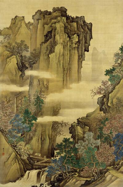 谷文晁 青緑山水図