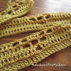 からし色の糸で方眼編み2