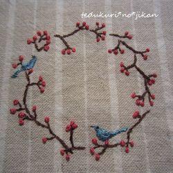 刺繍 お花と小鳥3