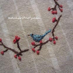 刺繍 お花と小鳥4