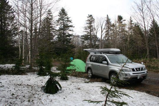 林道でテント泊