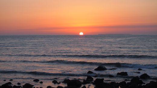 象潟の夕日