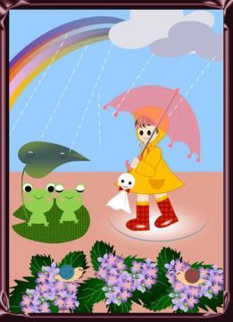 雨の中のお散歩2