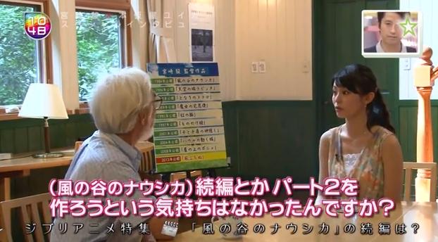 エヴァの庵野監督が『風の谷のナウシカ2』をやるのか?宮崎監督「庵野がやりたいって言うから、やるならやっても良いってこの頃思うようになっている」