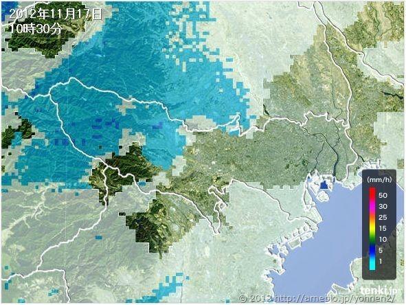 雨雲レーダー予想20121118