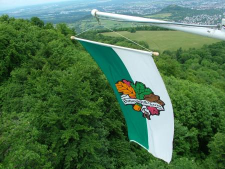パンツの塔にはためく旗