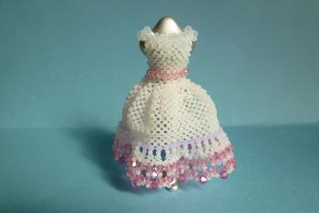 ドレス(白、裾にピンク)
