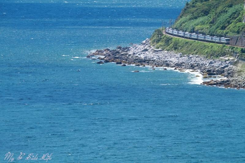 夏、あの海辺のカーブを曲がる、185系「踊り子」号 ~片瀬白田~ 伊豆急行