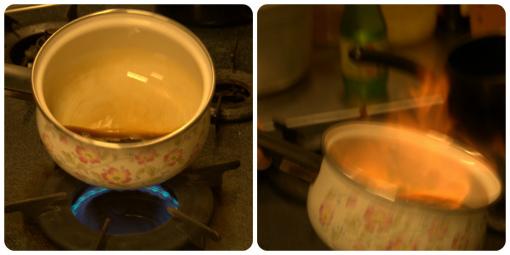 醤油 + みりん + お酒 + 加熱