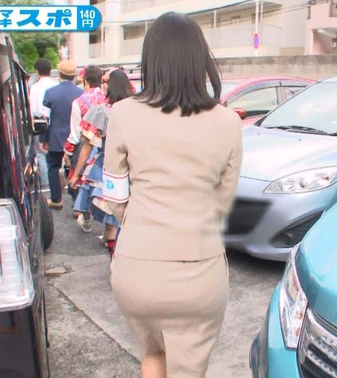 鷲見玲奈 女子アナのタイトスカートのムチムチお尻キャプ画像(エロ・アイコラ画像)