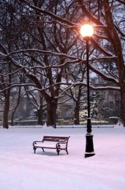 フリー画像雪の中のベンチ