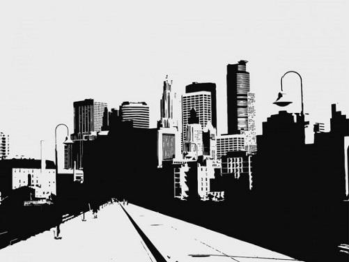 フリー画像・モノトーンの街