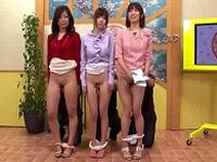 早朝情報番組の新人女子アナ3人組が生放送中にパンツずり下げられ乳とマンコイジられイキまくる