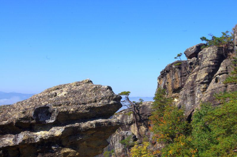 頂上と獅子岩