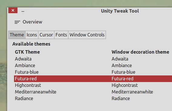 Futura Ubuntu テーマ Unity Tweak Tool