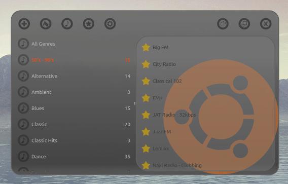 Great Little Radio Player Ubuntu インターネットラジオ Ubuntuロゴのスキン