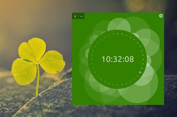 UP Clock Ubuntu 時計 ウィジェット グリーン