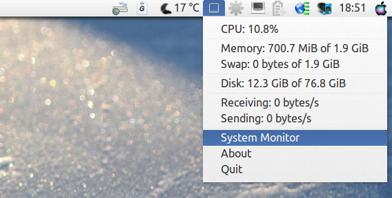 Ubuntu 13.04 Unity パネル SysPeek システムモニタ